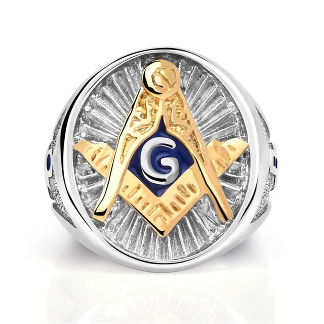 Stainless Steel Silver & Gold Plated Freemason Ring for Men