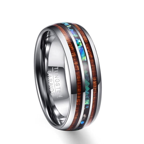 8mm Hawaiian Koa Wood and Abalone Shell Insert Tungsten Carbide Ring