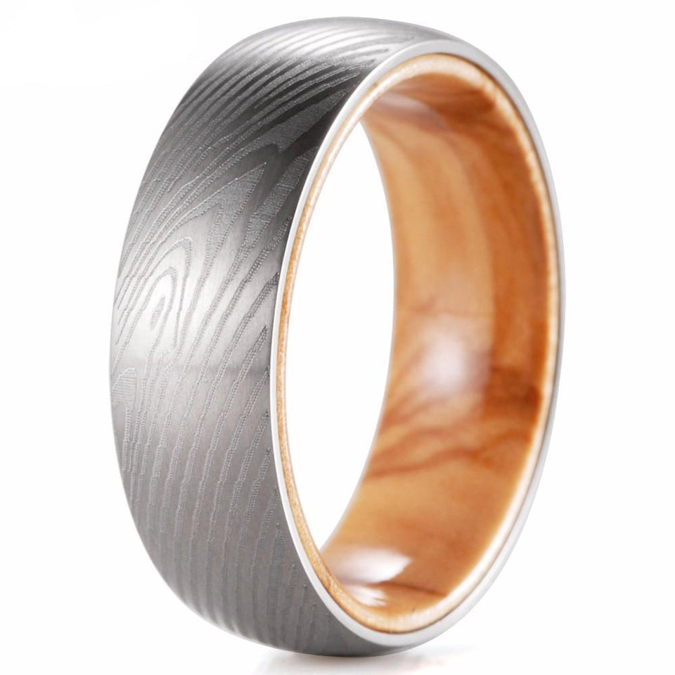 Titanium Matte Finish Fingerprint Pattern 8mm Ring for Men with Mahogany Koa Wood Inlay