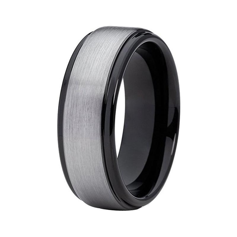 8mm Black Polished Tungsten Carbide with Silver Brushed Matte Center Ring - Innovato Store
