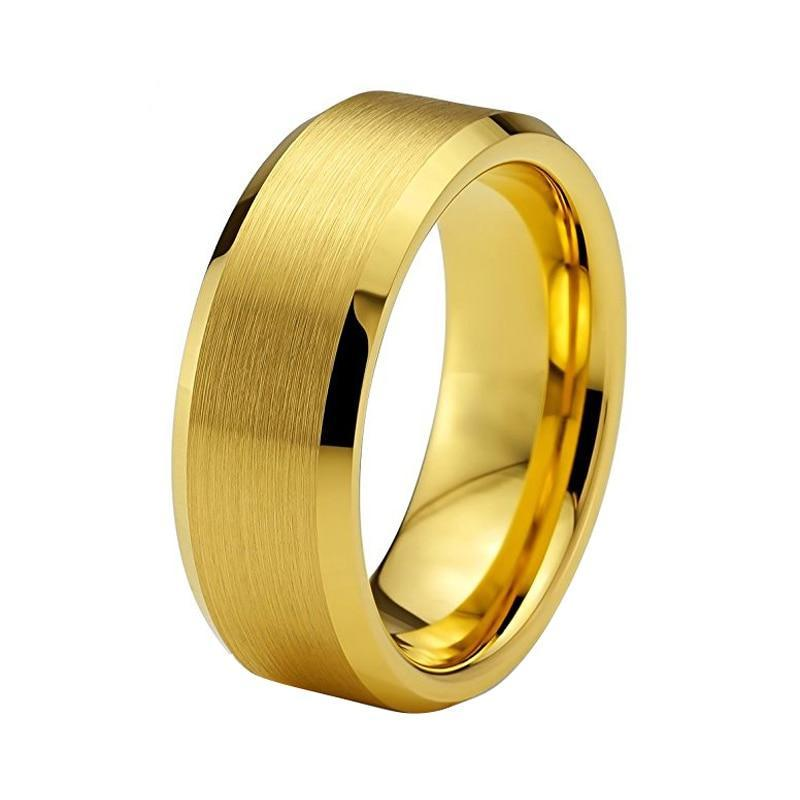 Yellow Color Gold Matte Brushed Tungsten Carbide Wedding Ring