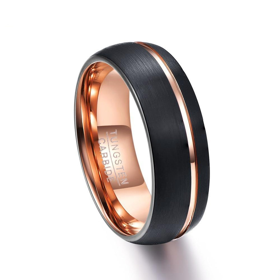 Rose Color Coated Tungsten Carbide with Offset Brushed Matte Surface and Groove Ring