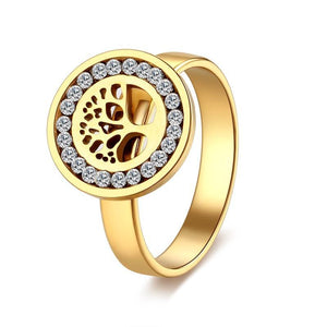 4mm Gold Accented with Crystal Inlay Women's Tree Ring