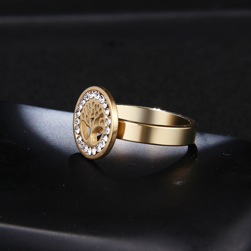 4mm Gold Accented with Crystal Inlay Women's Tree Ring - Innovato Store