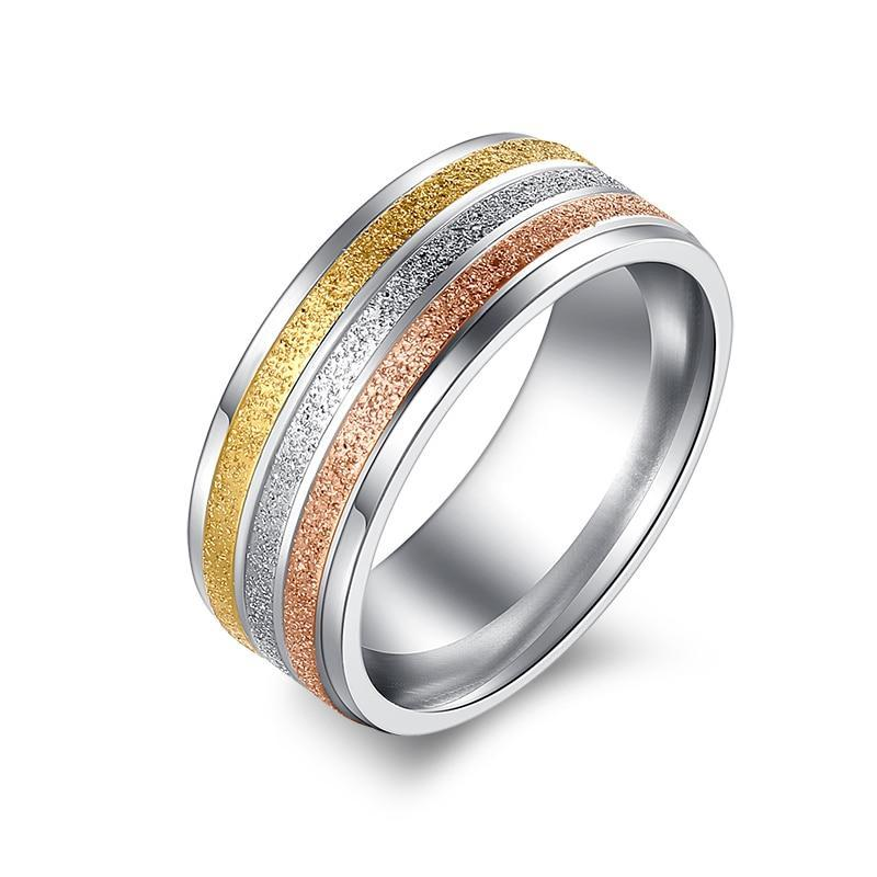 Stainless Steel High Polished Shiny Ring for Women with Three Colors Gold Silver and Pink Shiny Lines Inlay