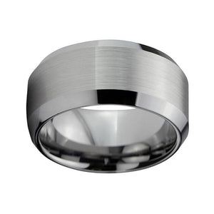 Large 12mm Silver Tone Tungsten Men's Wedding Band - Innovato Store