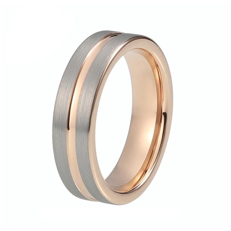 Unisex Pipe Cut Dual Color Rose Gold Plated and Tungsten Carbide Wedding Ring
