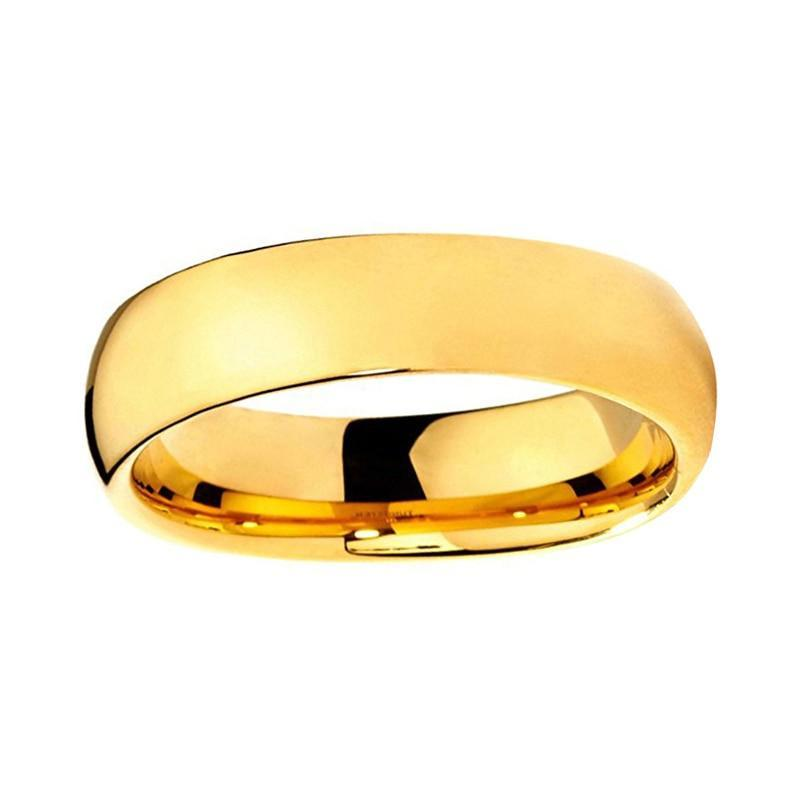 6mm Gold Plated Tungsten Carbide Domed Shape Wedding Band - Innovato Store