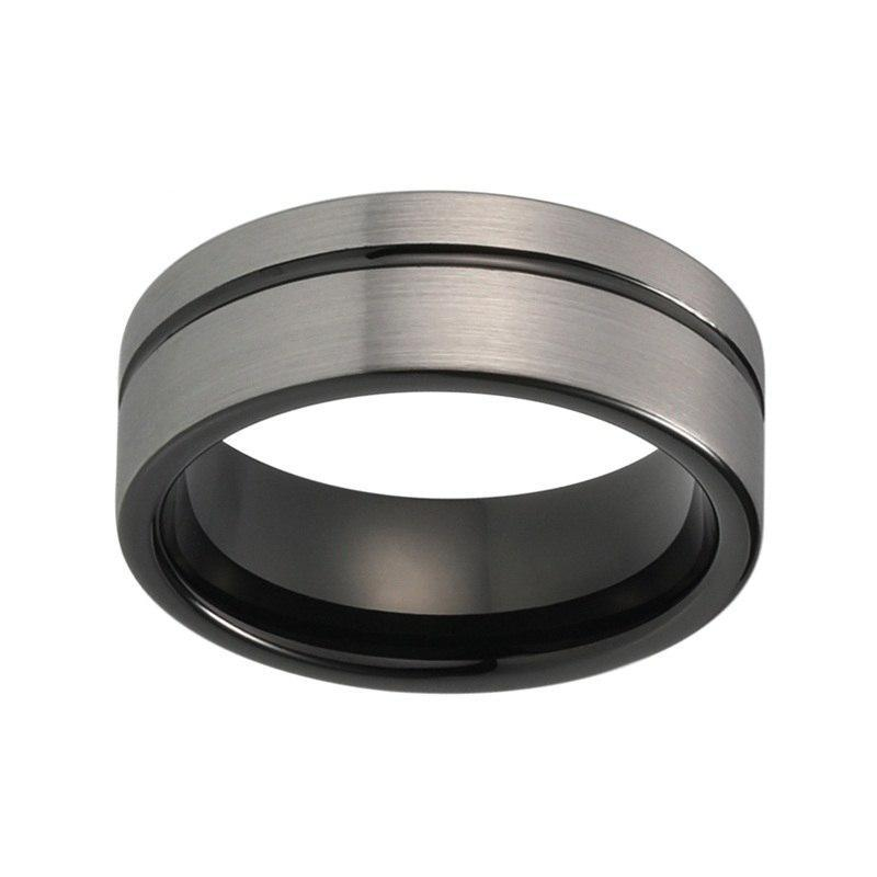 Grey Brushed Matte Offset, Groove Tungsten Carbide Ring - Innovato Store