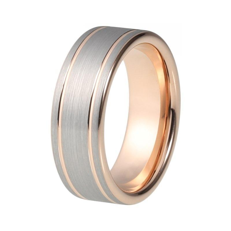 8mm Tungsten Carbide Silver-plated Brushed Top Rose Gold-plated Wedding Band - Innovato Store