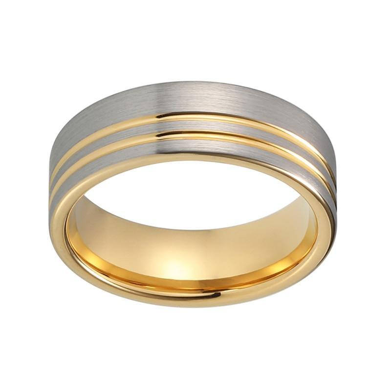 Unequaled Strip Brushed Matte Silver Coated Tungsten Gold Coated Grooved Pipe Cut Wedding Band