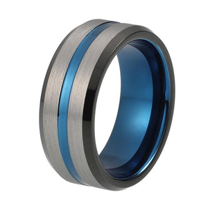 8mm Black and Blue Silver Brushed Matte Tungsten Carbide Ring