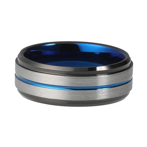 8mm Black Brushed Matte Tungsten Carbide Surface with Blue Groove Center - Innovato Store