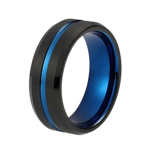 8mm Mens Two Tone Brushed Matte Tungsten Carbide Ring - Innovato Store