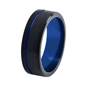 8mm Black Brushed Matte Tungsten Carbide with Blue Polished Surface Wedding Ring - Innovato Store