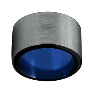 Large 10mm Men's Black Tungsten Carbide with Silver Brushed Matte Surface Wedding Ring