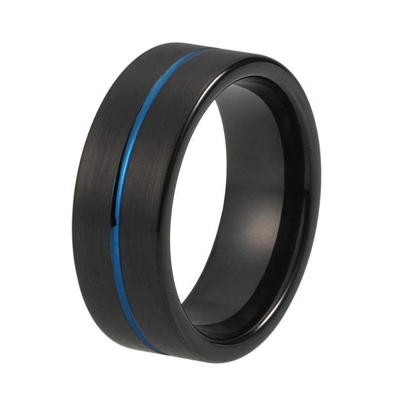 8mm Black Brushed Matt Surface with Blue Groove Tungsten Carbide Ring