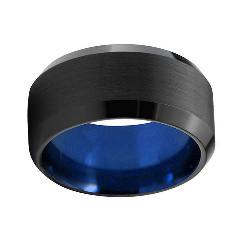 10mm Black and Blue Tungsten Carbide Ring with Beveled Edges for Men - Innovato Store