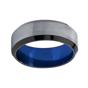 8mm Brushed Matte Surface with Curved Edges and Blue Inner Wedding Ring - Innovato Store