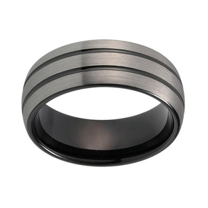 Silver Matte Tungsten Dome Shape with Double Grooved Strips Wedding Band