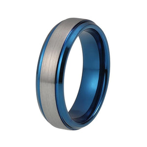 Blue Tungsten Carbide with Stepped and Beveled Edges Wedding Band - Innovato Store