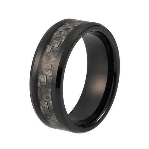 8mm Grey Carbon Fiber Inlay Black Tungsten Carbide Ring Comfort Fit Wedding Band Engagement Ring - Innovato Store