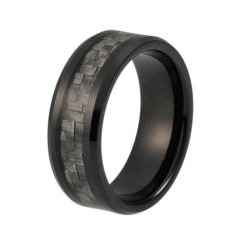 8mm Grey Carbon Fiber Inlay Black Tungsten Carbide Ring Comfort Fit Wedding Band Engagement Ring