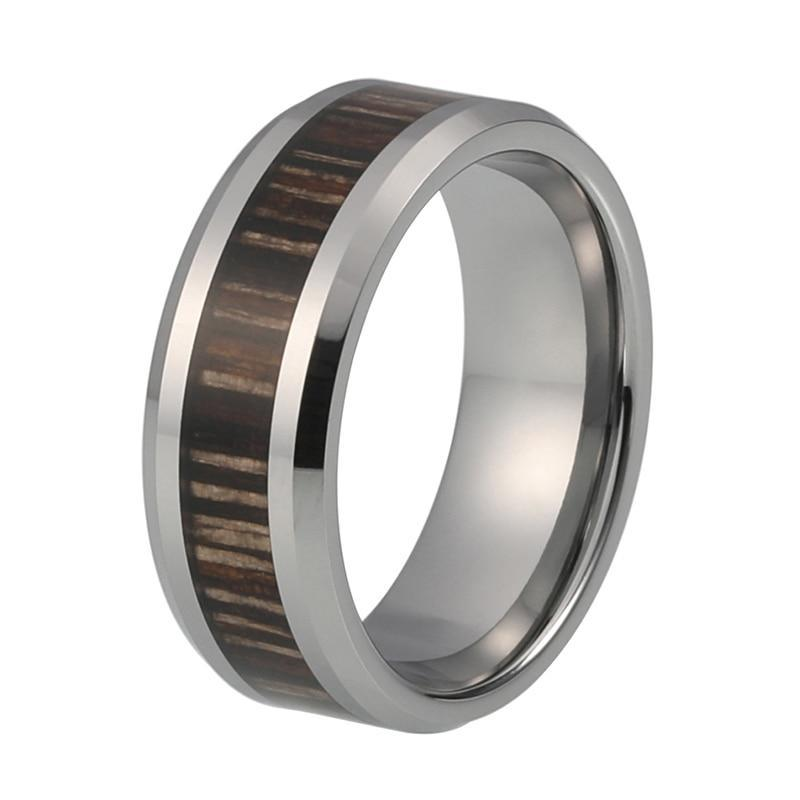 8mm Silver Coated Tungsten Carbide with Zebra Pattern Wood Inlay Wedding Ring - Innovato Store