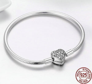 925 Sterling Silver Tree of Life Heart on a Heart Bracelet