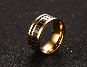 Gold Plated Stainless Steel with Black Carbon Fiber Brick Pattern and Black Beads Ring for Men - Innovato Store