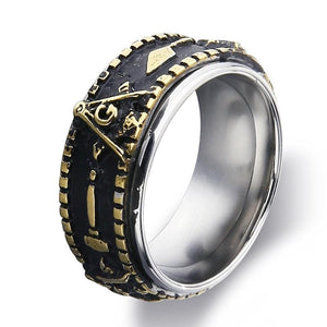 Luxury Black and Gold Coated Stainless Steel Freemason Ring for Men - Innovato Store