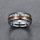 8mm White Camouflage and Plain Wood Inlay Tungsten Carbide Ring
