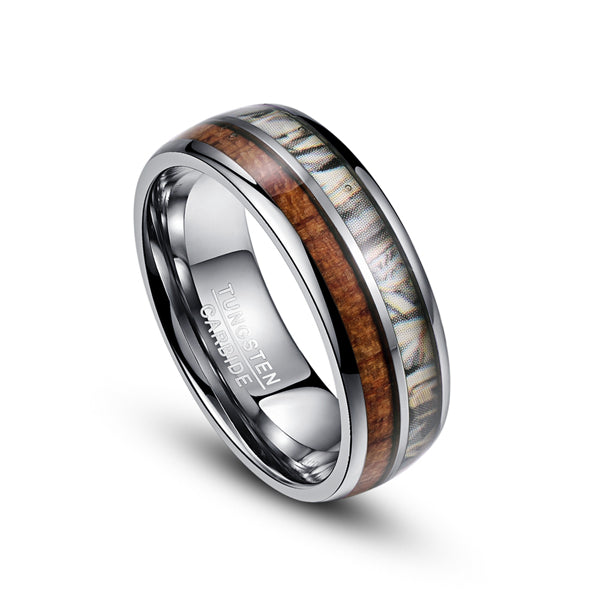 8mm White Camouflage and Plain Wood Inlay Tungsten Carbide Ring - Innovato Store