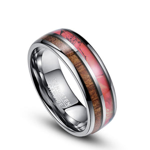 Two Tone Rose and Wood Inlay with White Silver-Tungsten Carbide Wedding Rings