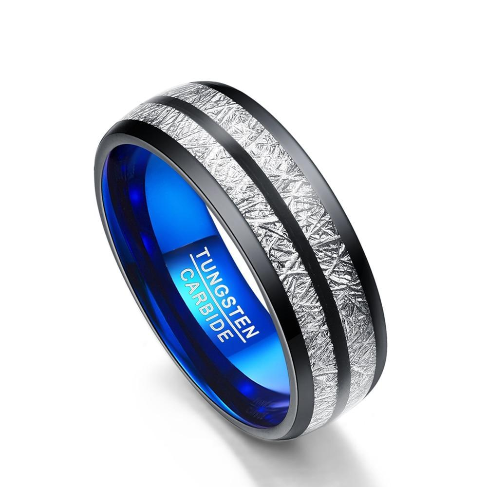 Black, Blue, and Silver Meteorite Tungsten Carbide Wedding Ring - Innovato Store