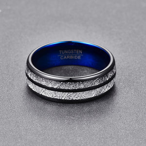 Black, Blue, and Silver Meteorite Tungsten Carbide Wedding Ring
