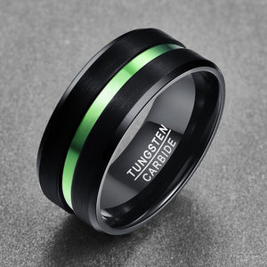10mm Black Tungsten Carbide with Dual Brushed Matte Surface and Green Inlay Rings - Innovato Store