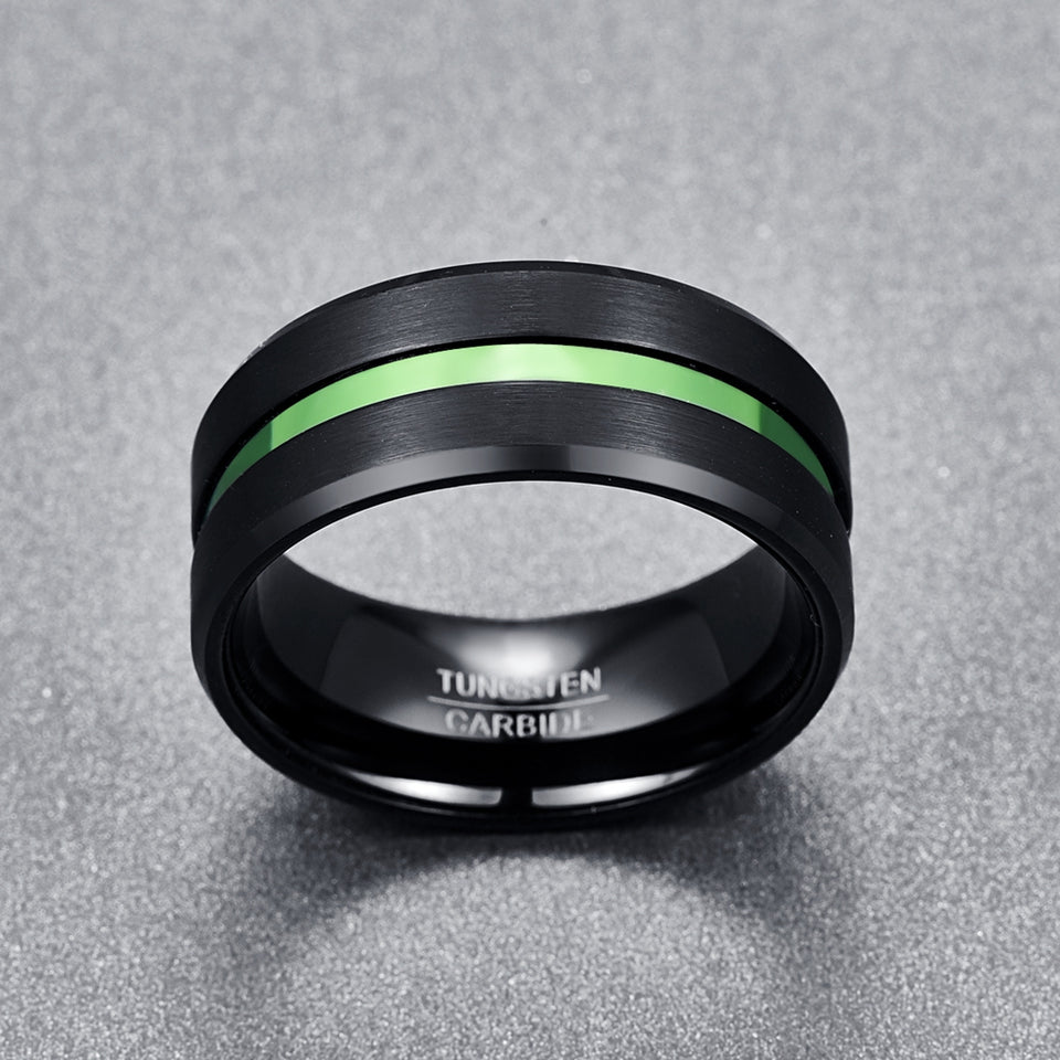 10mm Black Tungsten Carbide with Dual Brushed Matte Surface and Green Inlay Rings