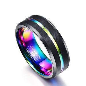 8mm Rainbow Color Coated Tungsten Carbide with Two Black Brushed Matte Surface - Innovato Store