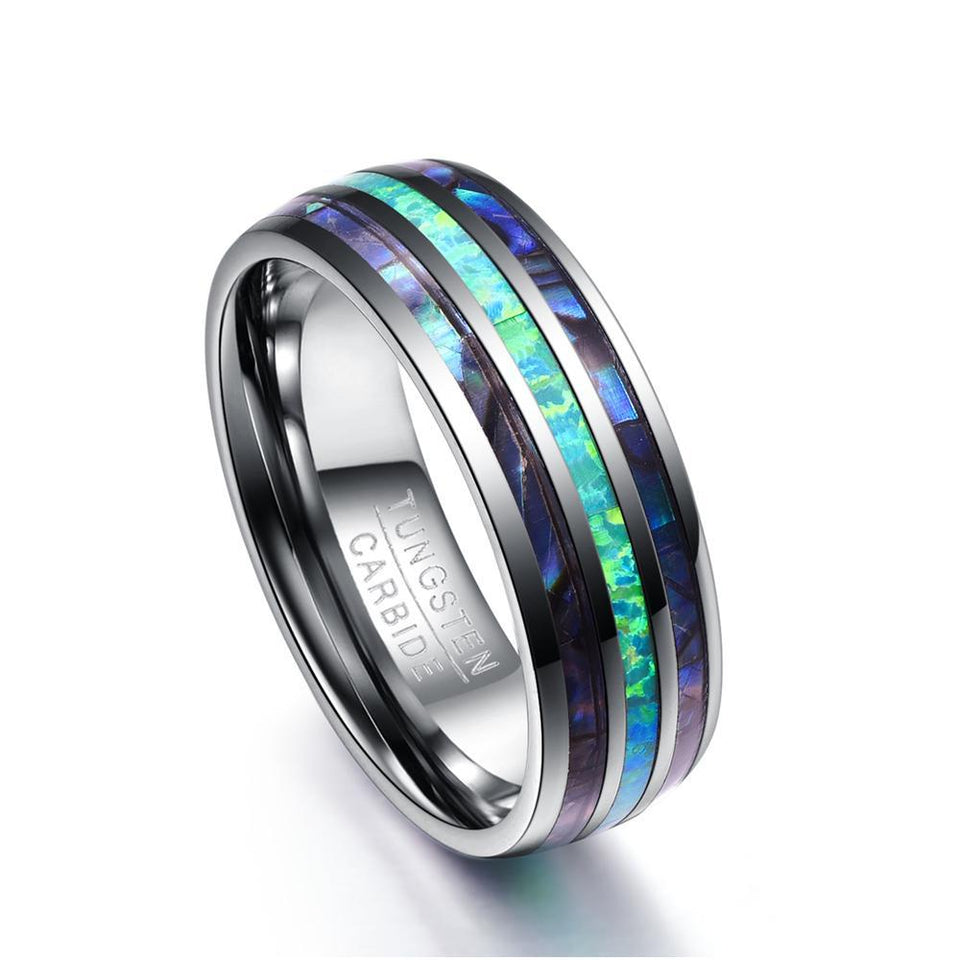 8mm Silver Tungsten Carbide with Polished Abalone Shell Ring - Innovato Store