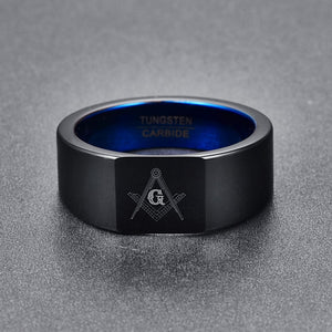 Black Polished Freemason Men's Career Tungsten Carbide Ring - Innovato Store