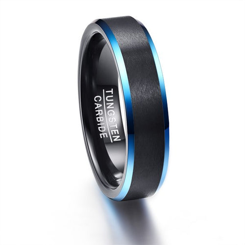 Black Polished Tungsten Carbide with Brushed Matte Surface and Blue Edges Wedding Ring - Innovato Store