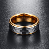 8mm Flat Cut Gold Coated Tungsten with Brushed Matte Geometric pattern Wedding Ring - Innovato Store