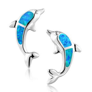 Blue Opal Stone Dolphin Stud Earrings Women's Jewelry - Innovato Store