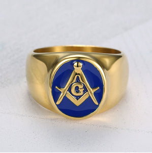 Stainless Steel Gold Plated Masonic Ring for Men