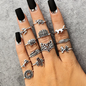 Antique 12 pieces Zinc Alloy Silver Color Ring Set for Women with Fox Elephant Cat Bird Horse Cactus Arrow Horoscope Design