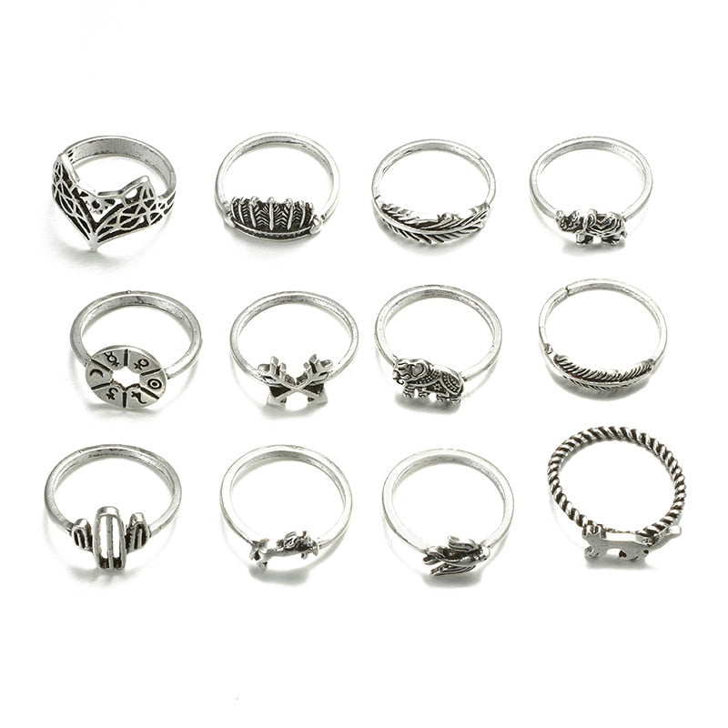 Antique 12 pieces Zinc Alloy Silver Color Ring Set for Women with Fox Elephant Cat Bird Horse Cactus Arrow Horoscope Design - Innovato Store