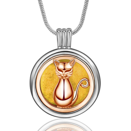 Rose Gold Cat Essential Oil Diffuser Pendant Necklace