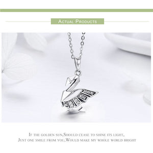 925 Sterling Silver Origami Swan Pendant
