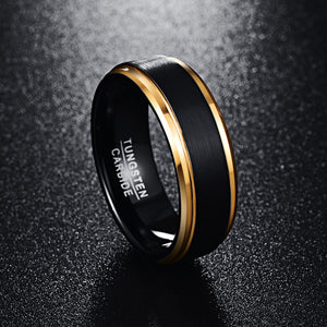 Pure Tungsten Carbide with Stepped Brushed Matte Center with Gold Plated Edges Wedding Ring